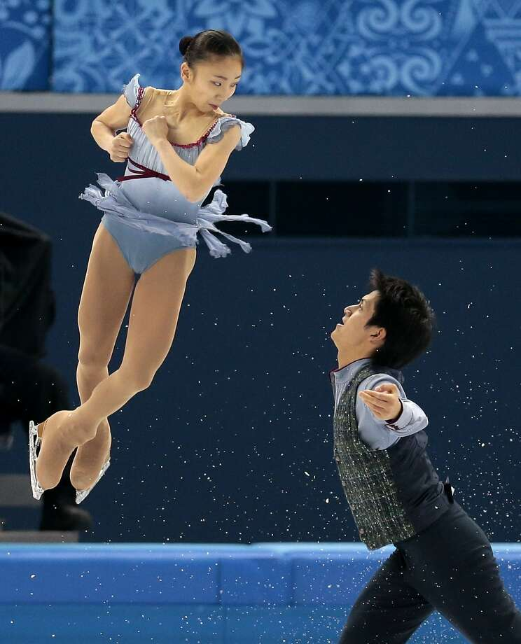 Narumi Takahashi and Ryuichi Kihara of Japan compete in the team pairs free skate figure skating competition at the Iceberg Skating Palace during the 2014 Winter Olympics, Saturday, Feb. 8, 2014, in Sochi, Russia.  Photo: Ivan Sekretarev, Associated Press
