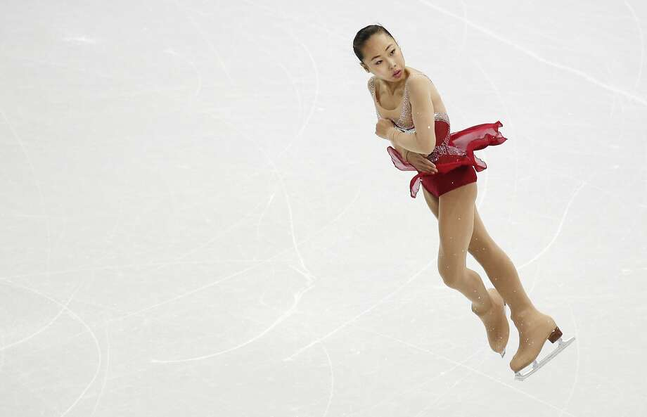 Zhang Kexin of China competes in the women's team short program figure skating competition at the Iceberg Skating Palace during the 2014 Winter Olympics, Saturday, Feb. 8, 2014, in Sochi, Russia. Photo: Bernat Armangue, Associated Press