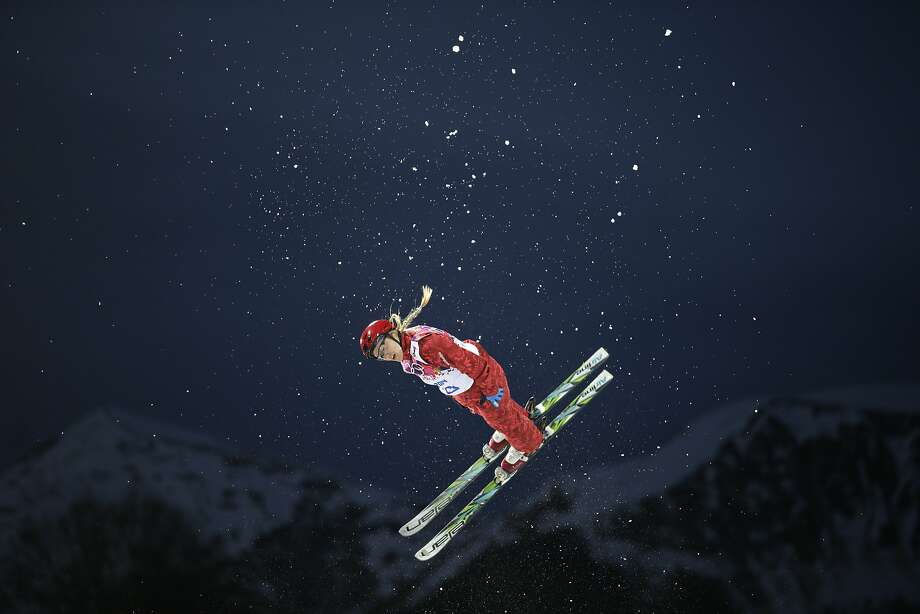 Russia's Alexandra Orlova competes during the women's freestyle skiing aerials qualifying at the Rosa Khutor Extreme Park, at the 2014 Winter Olympics, Friday, Feb. 14, 2014, in Krasnaya Polyana, Russia.  Photo: Jae C. Hong, Associated Press