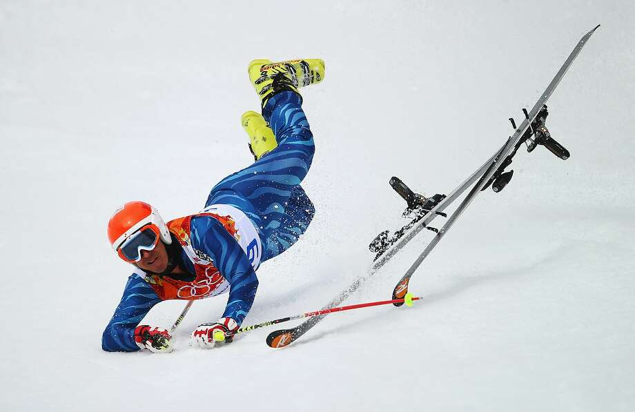 Antonio Jose Pardo Andretta of Venezuela falls during the Alpine Skiing Men's Giant Slalom on day 12 of the Sochi 2014 Winter Olympics at Rosa Khutor Alpine Center on February 19, 2014 in Sochi, Russia. Photo: Clive Rose, Getty Images