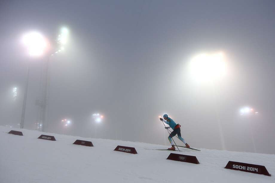 Swedish biathlete warms up for in the Men's 15 km Mass Start during day nine of the Sochi 2014 Winter Olympics at Laura Cross-country Ski & Biathlon Center on February 16, 2014 in Sochi, Russia.  Photo: Clive Mason, Getty Images