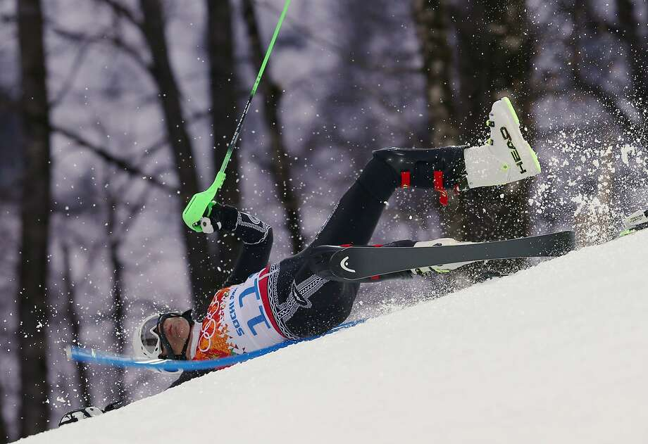 Mexico's Hubertus von Hohenlohe crashes during the first run of the men's slalom at the Sochi 2014 Winter Olympics, Saturday, Feb. 22, 2014, in Krasnaya Polyana, Russia. (AP Photo/Alessandro Trovati) Photo: Alessandro Trovati, Associated Press
