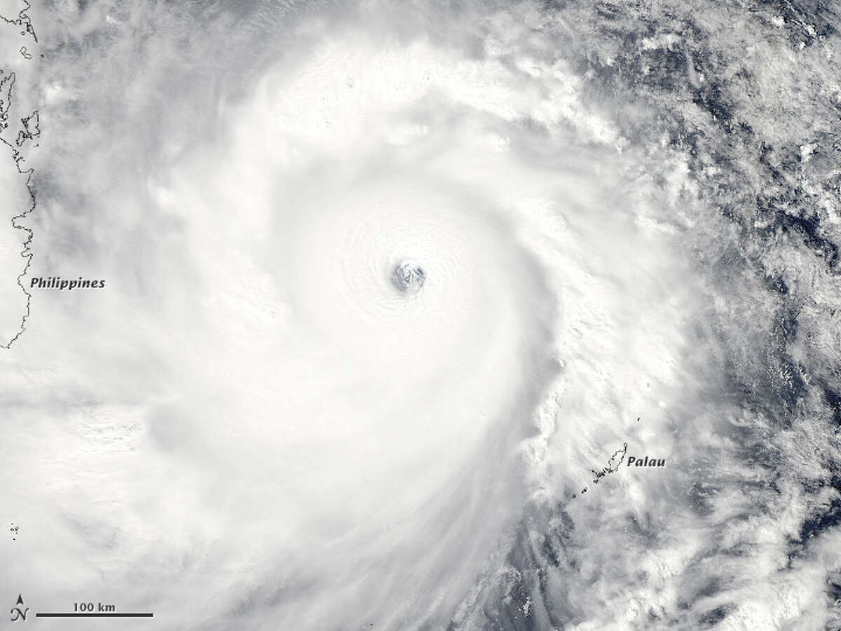 The Moderate Resolution Imaging Spectroradiometer or MODIS on NASA's Aqua satellite captured this image of the super typhoon Haiyan along near the Phillipines. The storm is one of the strongest on record with winds reaching 147 mph. Source: NASA Related:One of world's strongest storms blasts Philippines