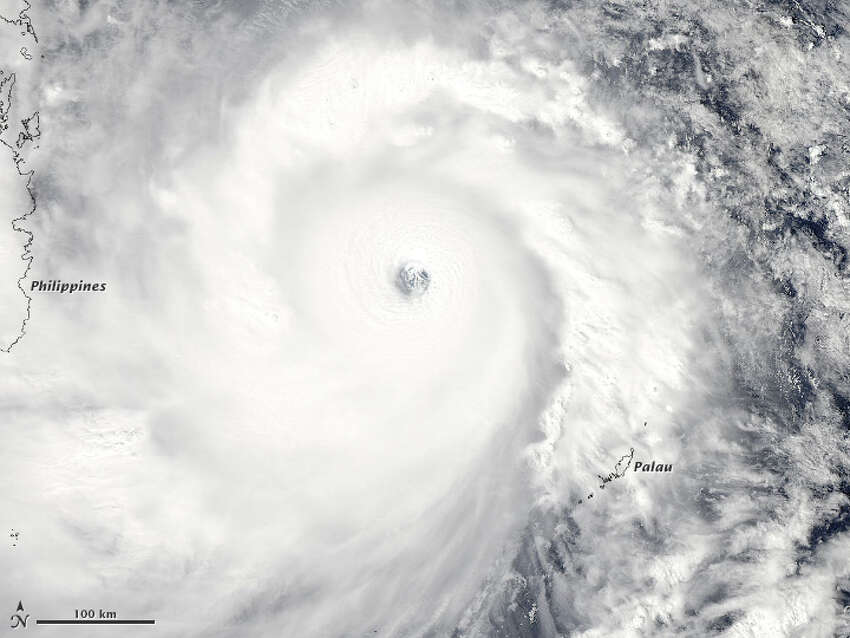 The Moderate Resolution Imaging Spectroradiometer or MODIS on NASA's Aqua satellite captured this image of the super typhoon Haiyan along near the Phillipines. The storm is one of the strongest on record with winds reaching 147 mph. Source: NASA Related: One of world's strongest storms blasts Philippines