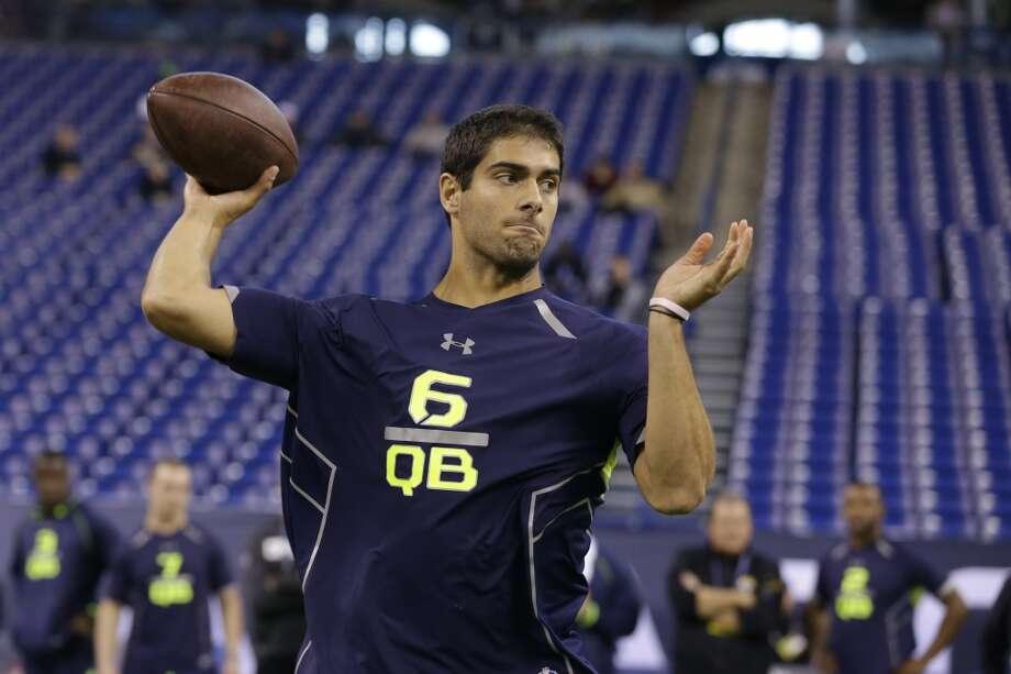 Eastern Illinois quarterback Jimmy Garoppolo throws during a drill. Photo: Michael Conroy, Associated Press