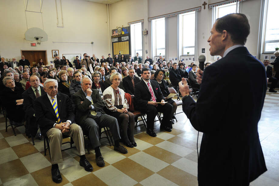 Senator Richard Blumenthal addresses a memorial service for the Ukrainian dead at St. Michael's Ukrainian Church in New Haven, Conn. on Sunday, February 23, 2014. Photo: Brian A. Pounds / Connecticut Post