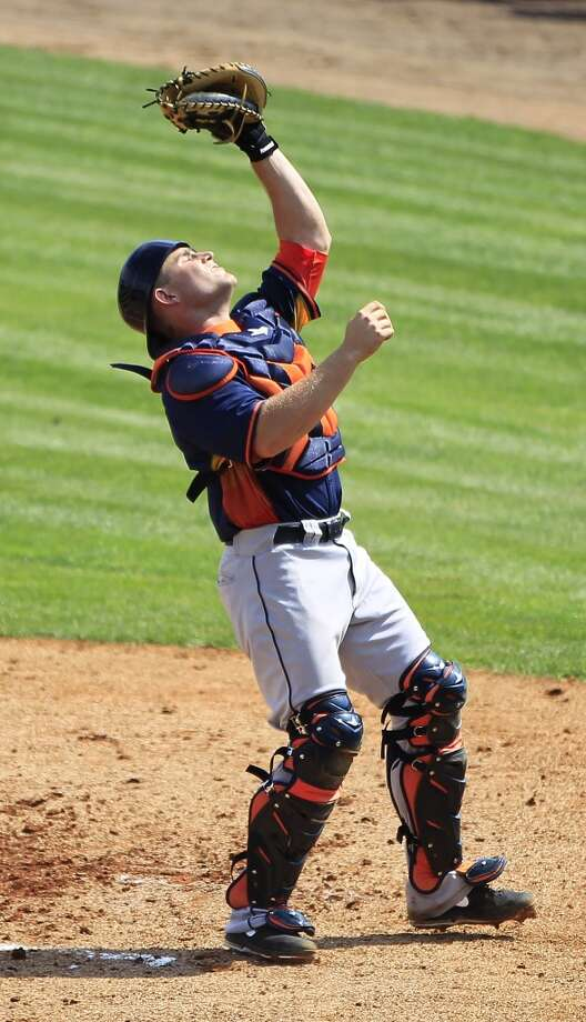 Catcher Max Stassi makes a catch on a pop out during the Astros' intra-squad game. Photo: Karen Warren, Houston Chronicle
