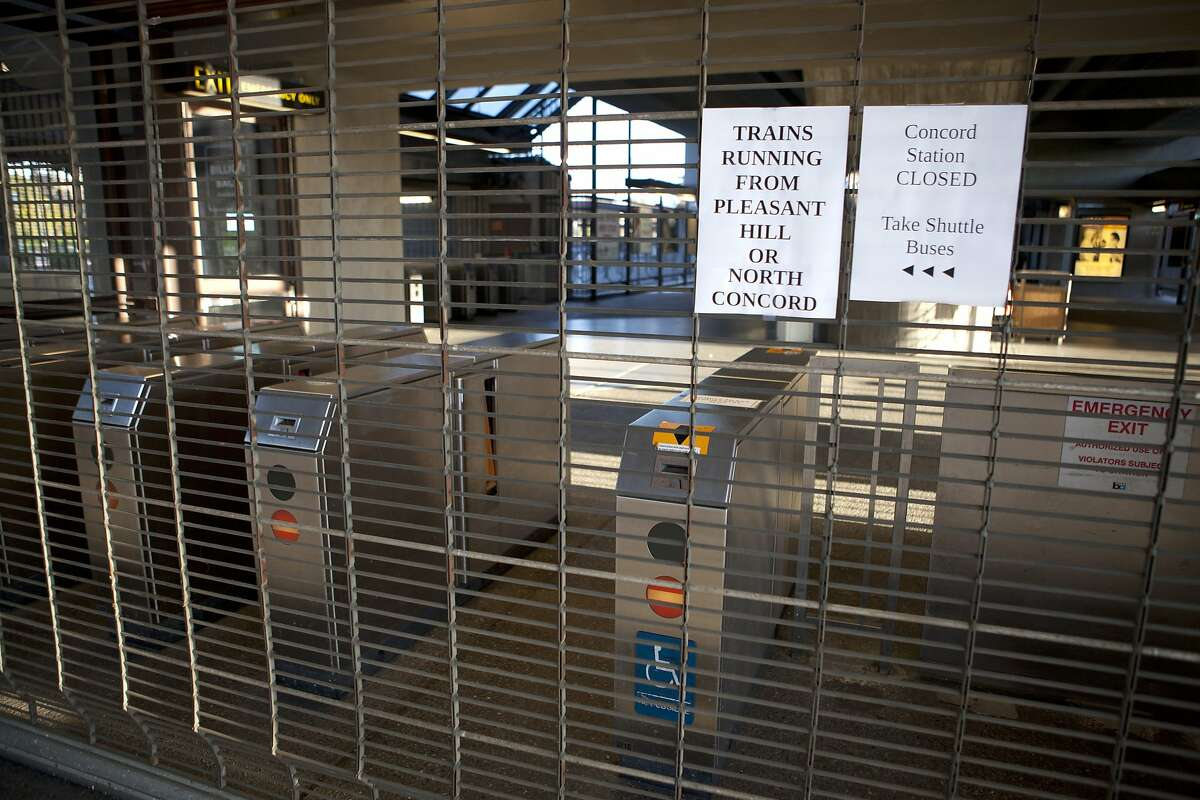 Following a train jumping the tracks last Friday, the BART station at Concord has been closed all weekend, Concord Calif. on Feb. 23 2014.