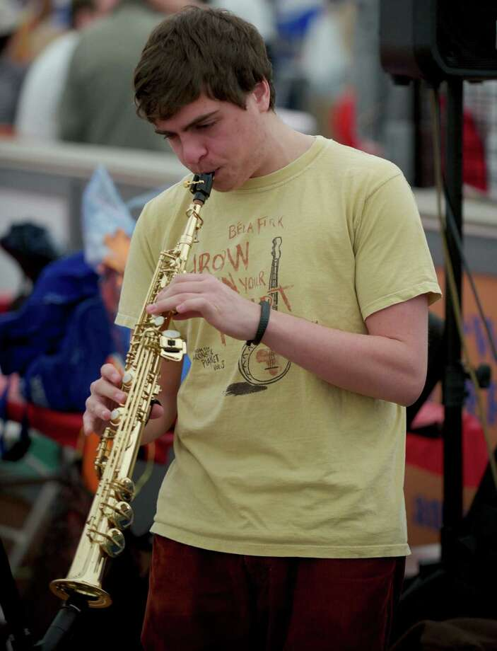 Garrett Rose, of Danbury, Conn, plays in the band Standby which was part of the entertainment during the Sixth Annual Chili Winter Warm Up at the Danbury Sports Dome on Sunday, February 23, 2014. Photo: H John Voorhees III / The News-Times Freelance