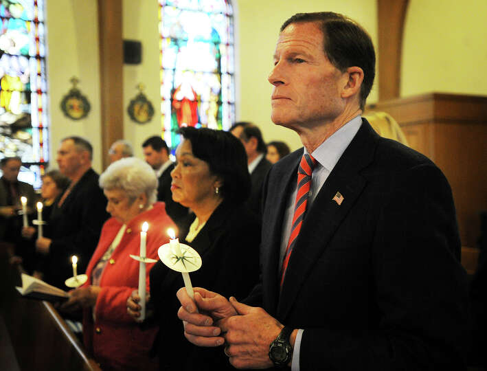 Senator Richard Blumenthal attends a memorial service for the Ukrainian dead at St. Michael's Ukrain