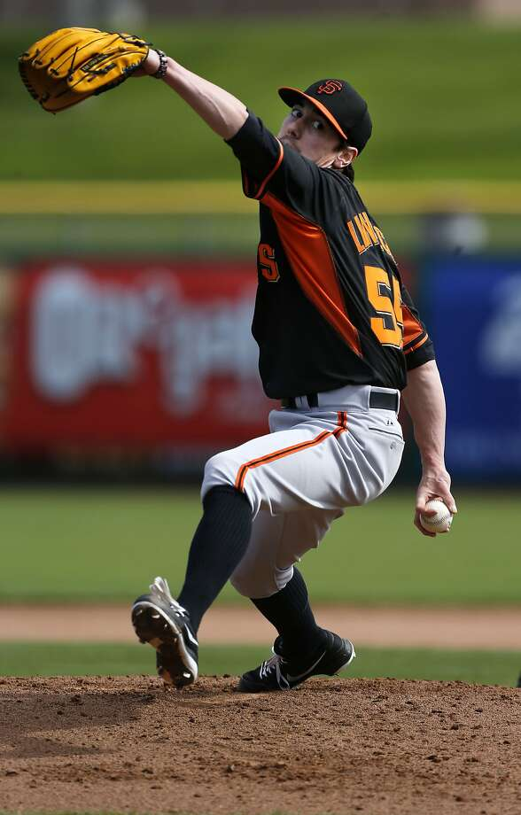Pitcher Tim Lincecum, (55) throws during batting practice at Scottsdale Stadium in Scottsdale, Arizona on Sunday Feb. 23, 2014. The San Francisco Giants continue their spring training schedule in the Arizona desert in preparation for the 2014 MBL season. Photo: Michael Macor, The Chronicle