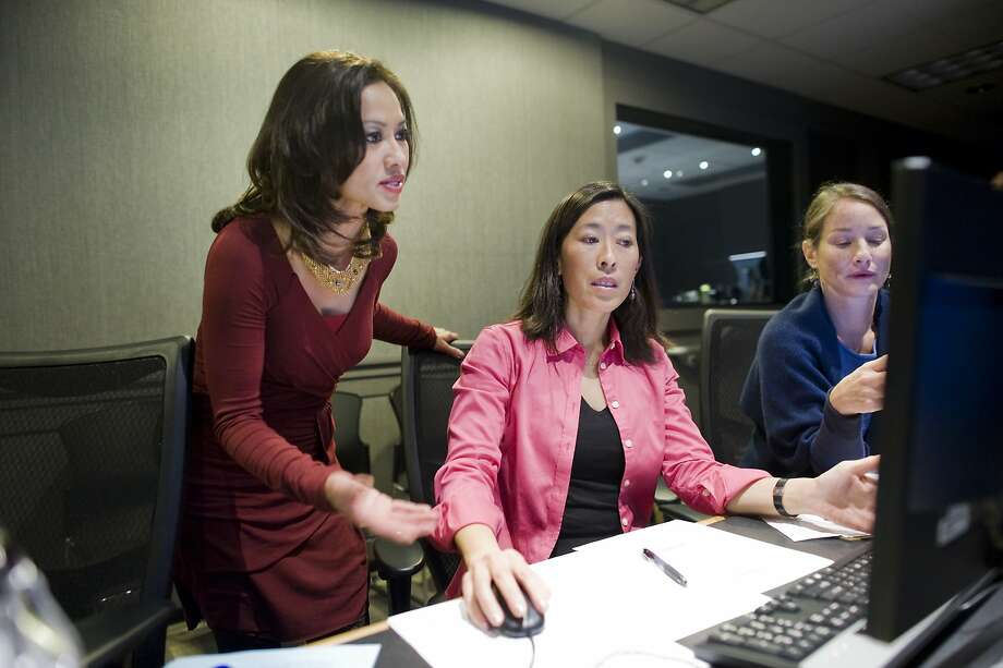 Thuy Vu, left, talks with producer Monica Lam and executive producer Joanne Elgart Jennings before heading into a rehearsal for the broadcast of the KQED Newsroom program at the KQED studios in San Francisco, CA Friday, February 14, 2014. Photo: Michael Short, Special To The Chronicle