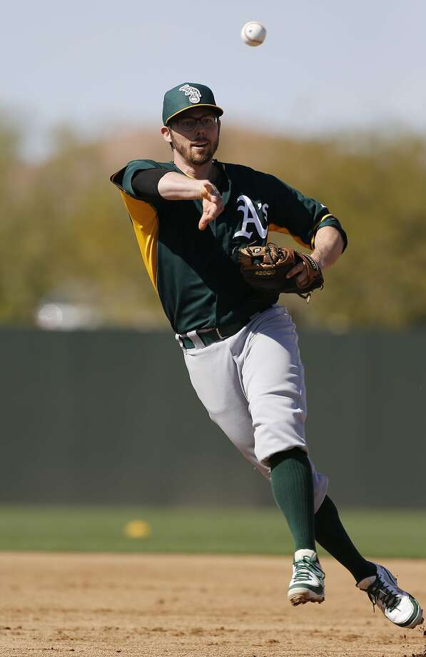 A's infielder Eric Sogard is matched against the Giants' Buster Posey in Round 3 of MLB Network's Twitter competition. Photo: Michael Macor, The Chronicle