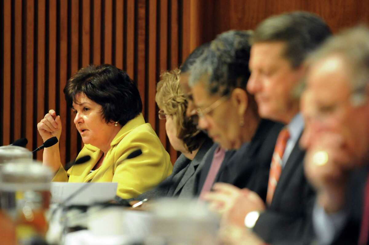 Sen. Kathleen Marchione, left, questions Gail Prudenti, chief administrative judge, during a joint budget hearing on public protection on Wednesday, Feb. 5, 2014, at the Legislative Office Building in Albany, N.Y. (Cindy Schultz / Times Union)
