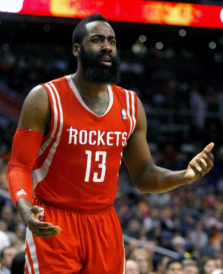 Rockets shooting guard James Harden (13) reacts to a no call. Photo: Rick Scuteri, Associated Press