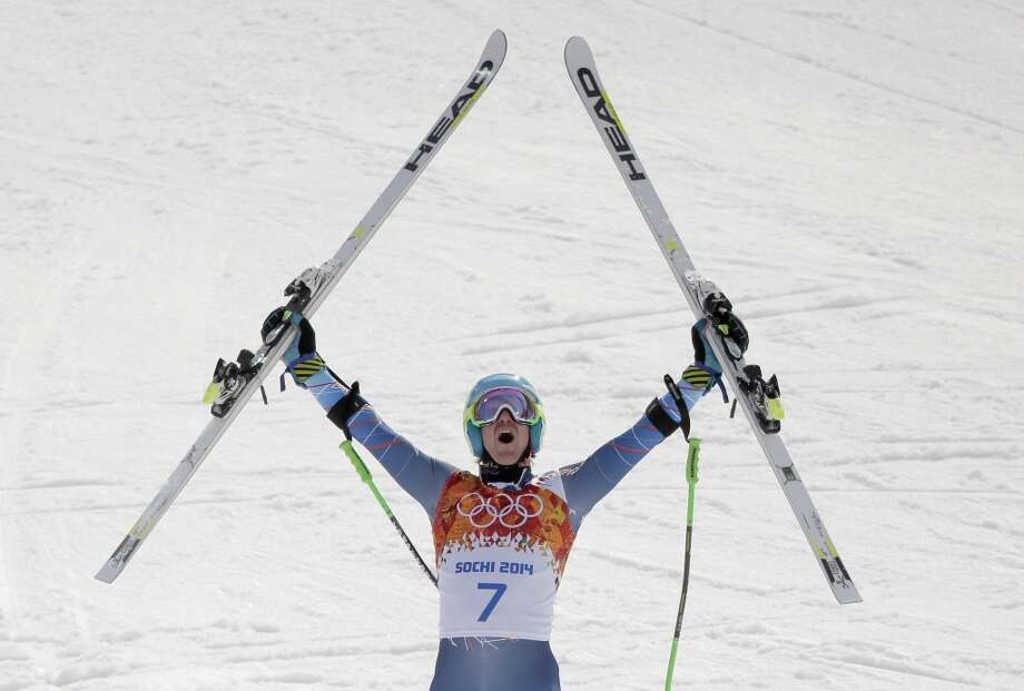 United States' Ted Ligety celebrates after winning the gold medal in the men's giant slalom at the Sochi 2014 Winter Olympics, Wednesday, Feb. 19, 2014, in Krasnaya Polyana, Russia. Photo: Charlie Riedel, Associated Press