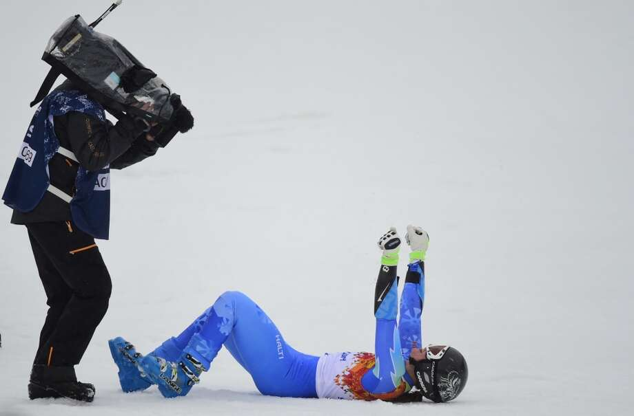 Slovenia's Tina Maze reacts in the finish area during the Women's Alpine Skiing Giant Slalom Run 2 at the Rosa Khutor Alpine Center during the Sochi Winter Olympics on February 18, 2014. Photo: FABRICE COFFRINI, AFP/Getty Images