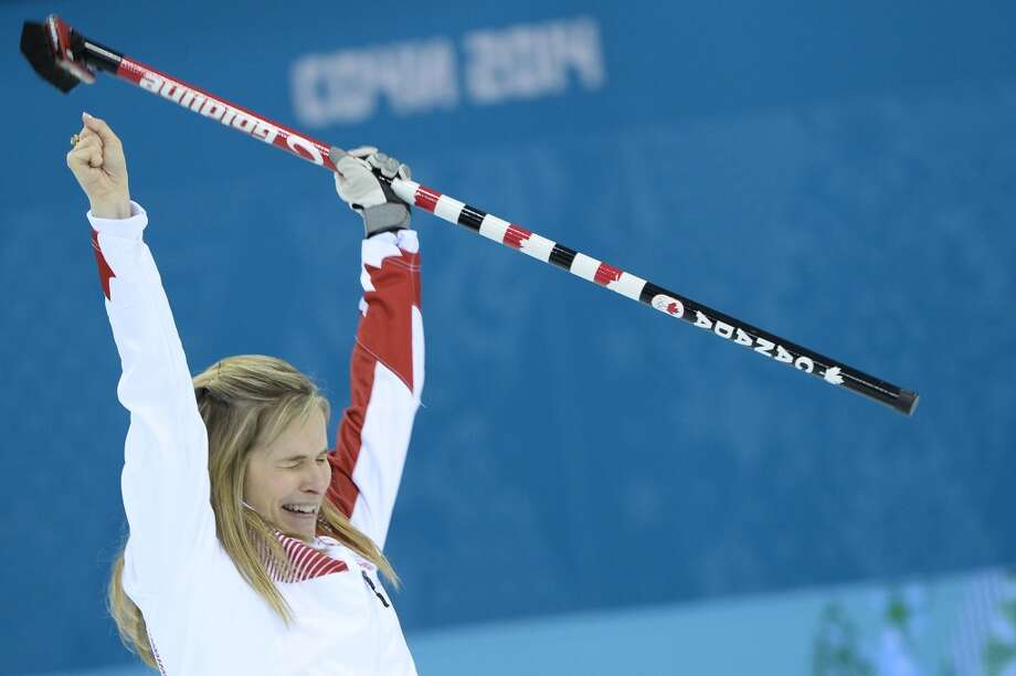 Canada's Jennifer Jones reacts at winning gold in the Women's Curling Gold Medal Game Canada vs Sweden at the Ice Cube Curling Center during the Sochi Winter Olympics on February 20, 2014. Photo: JONATHAN NACKSTRAND, AFP/Getty Images