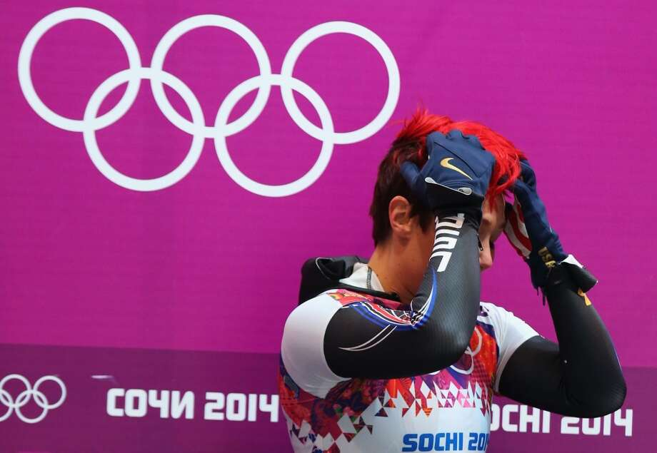 Katie Uhlaender of the United States reacts after competing a run during the Women's Skeleton on Day 7 of the Sochi 2014 Winter Olympics at Sliding Center Sanki on February 14, 2014 in Sochi, Russia. Photo: Alex Livesey, Getty Images