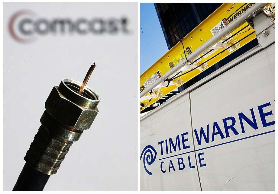 In this combination of Associated Press photos, the a coaxial cable is displayed in front of the Comcast Corp. logo in Philadelphia, on Wednesday, July 30, 2008, and a Time Warner Cable truck is parked in New York on Feb. 2, 2009. Comcast Corp. announced Thursday, Feb. 13, 2014,  that it is buying Time Warner Cable Inc. for $45.2 billion in stock. The deal combines two of the nation's top pay TV and Internet service companies and makes Comcast, which also owns NBCUniversal, a dominant force in both creating and delivering entertainment to U.S. homes. (AP Photo/Matt Rourke) Photo: Associated Press