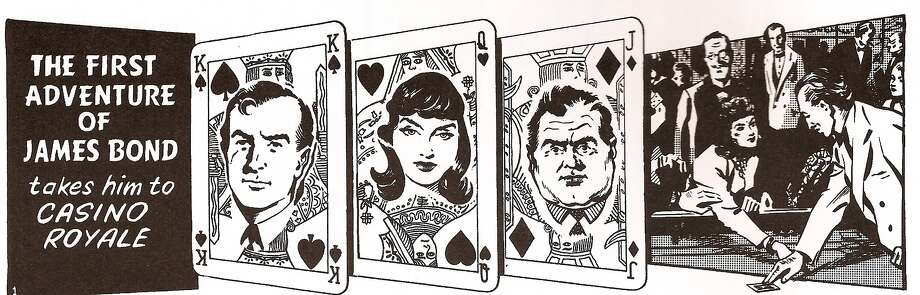 """Title panels from the first James Bond comic strip that ran in London's Daily Express introduced in 1958, five years after the first Bond book by Ian Fleming, """"Casino Royale,"""" was published. Photo: John McClusky"""
