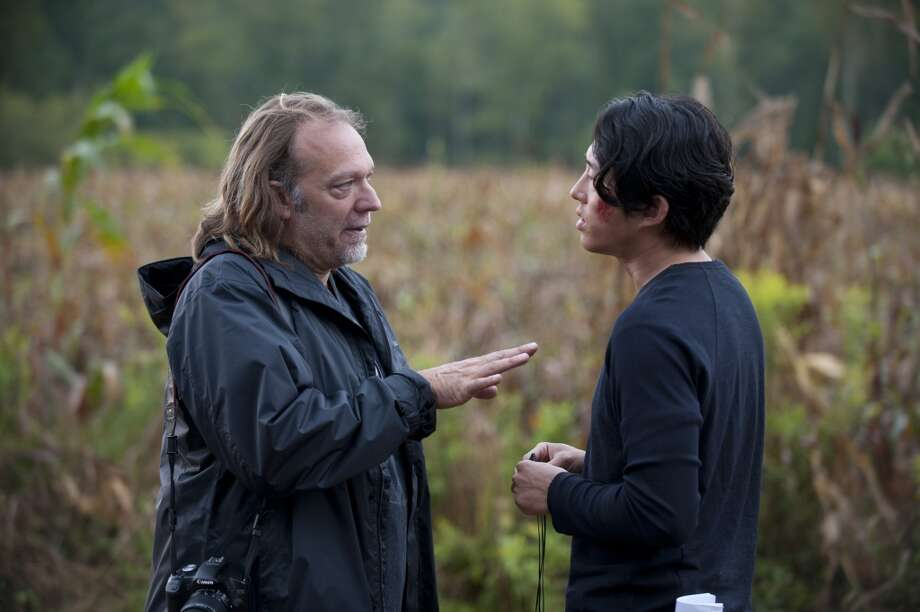 CoExecutive Producer/SFX Makeup Supervisor Greg Nicotero and Glenn (Steven Yeun) - The Walking Dead _ Season 4, Episode 11 _ BTS - Photo Credit: Gene Page/AMC