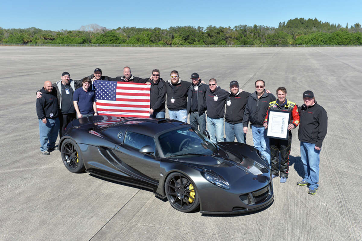 Driver Brian Smith set the world record for the fastest production car ever built in a Hennessey Venom GT on Feb. 14, 2014.