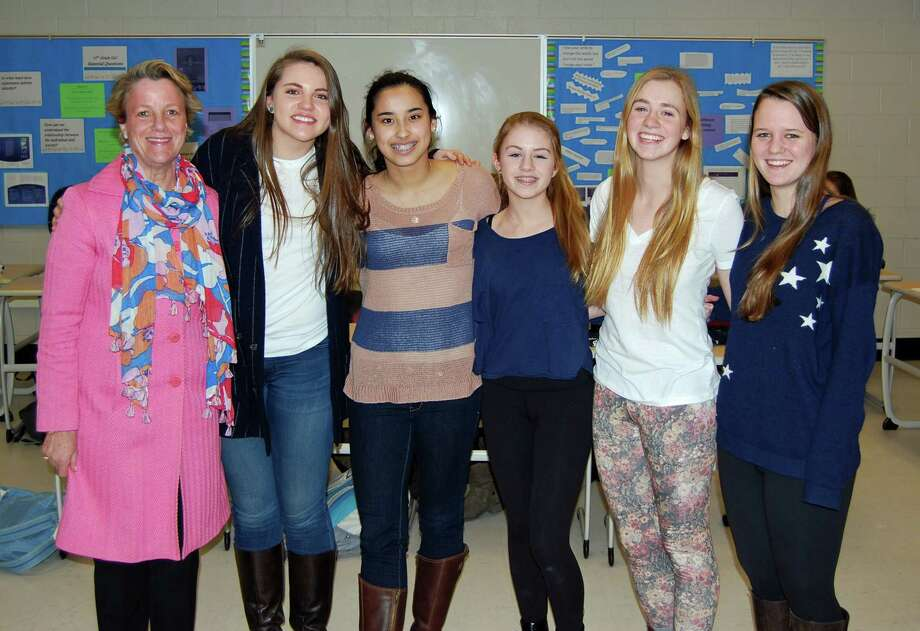Gail Donovan, left, vice president and branch manager of Bankwell of New Canaan, provided a workshop in banking to members of the New Canaan chapter of the National Charity League, from left, Hannah Fox, Katie Donovan, Amelia Savini, Ali Deambrosio and Cece Moyle. Photo: Contributed Photo, Contributed / New Canaan News Contributed