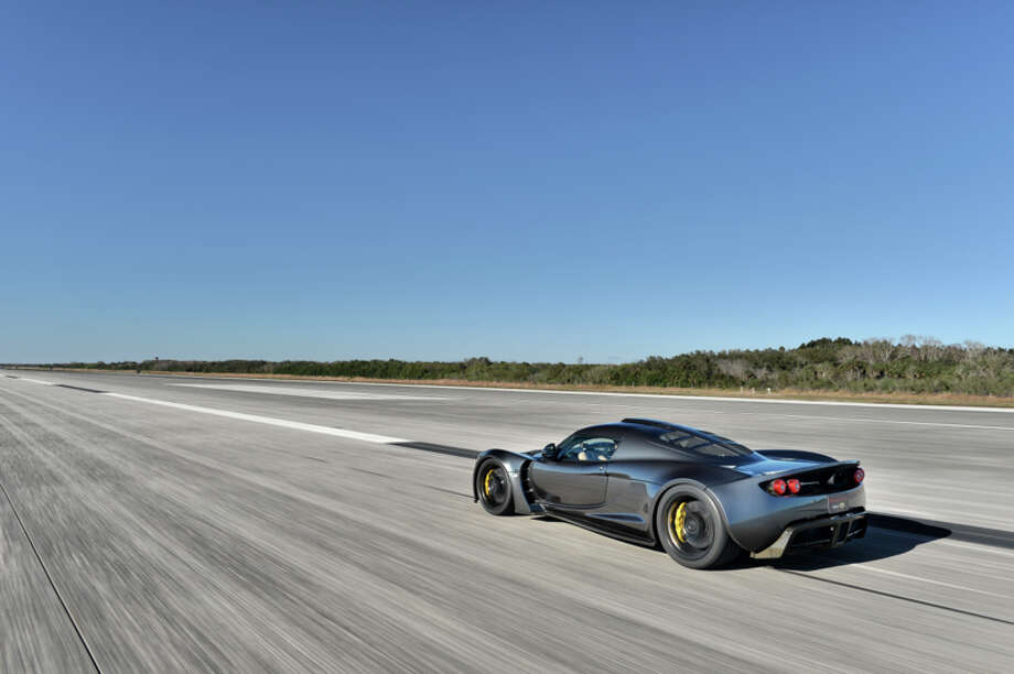 Driver Brian Smith set the world record for the fastest production car ever built in a Hennessey Venom GT on Feb. 14, 2014. Photo: Hennessey