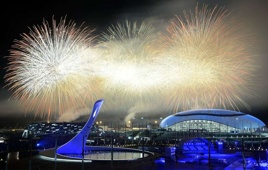 The Olympics ends with a bang outside Fisht Olympic Stadium at the Olympic Park in Sochi. Photo: Alexander Nemenov, AFP/Getty Images