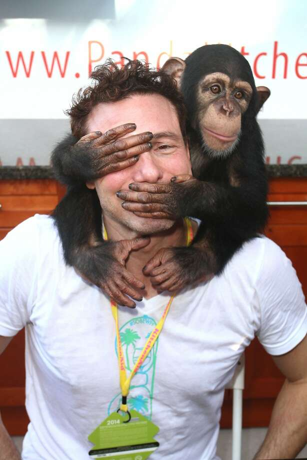 See no evil, hear no evil, speak no evil:Rocco DiSpirito and a friend combine for a gag at the Fun And Fit As A Family event for the Food Network South Beach Wine & Food 