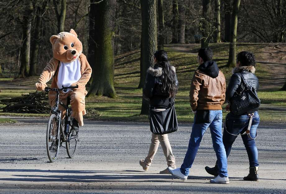 Is the circus in town?An ursine cyclist pedals his way back to a costume rental shop the day after a carnival event in Kassel, Germany. Photo: Uwe Zucchi, AFP/Getty Images