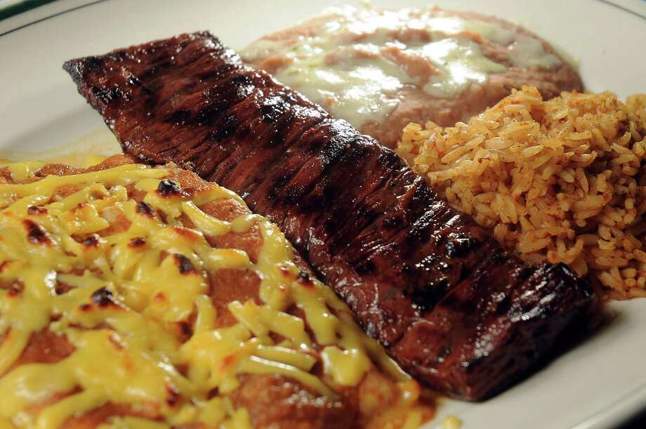 The carne asada with cheese enchiladas at Grace's on Kirby Friday Feb 21, 2014.(Dave Rossman photo) Photo: Dave Rossman, Freelance / Freelance