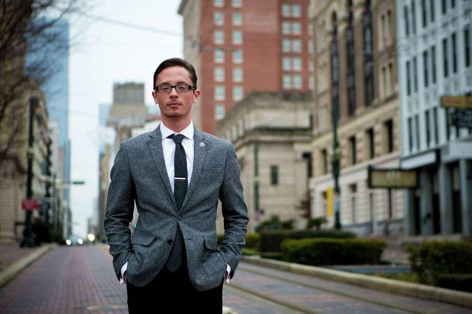 Kristopher Sharp, 24, a senior social work student at the University of Houston--Downtown and the UHD Student Body Vice President, spent six months living on the roof of a strip mall in northwest Houston in 2008 after aging out of the foster care system. Friday, Jan. 24, 2014. ( Marie D. De Jesus / Houston Chronicle ) Photo: Marie D. De Jesus, Staff / © 2014 Houston Chronicle