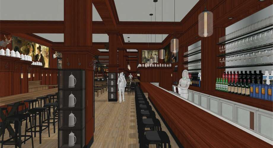 Rendering of the revamped Schroeder's. The rosewood bar is remaining. Photo: BCV Architects
