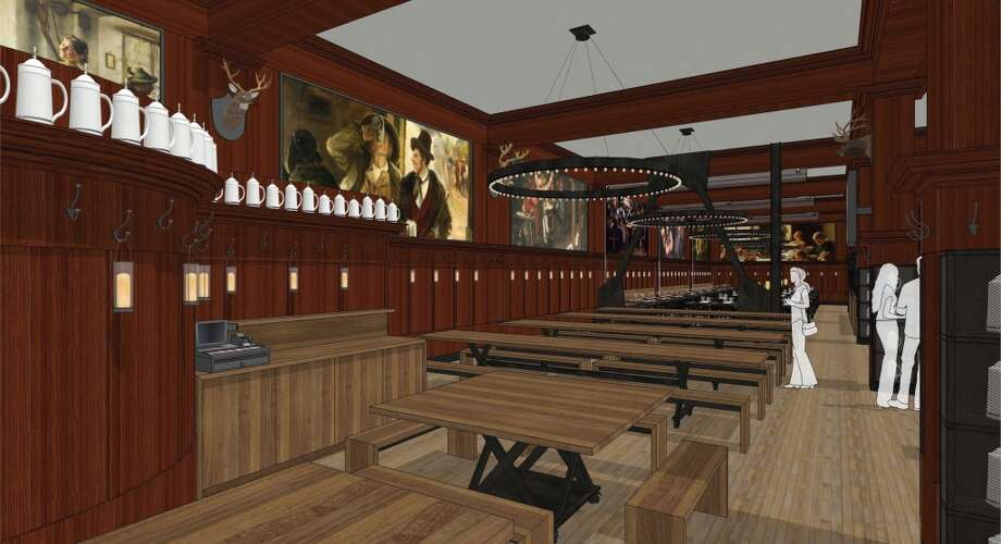 Rendering of the revamped Schroeder's. The beer hall area, with murals. Photo: BCV Architects