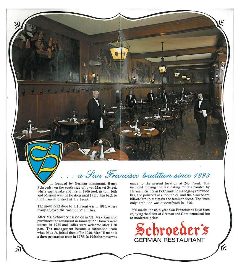 Vintage Schroeder's brochure Photo: Schroeder's Restaurant