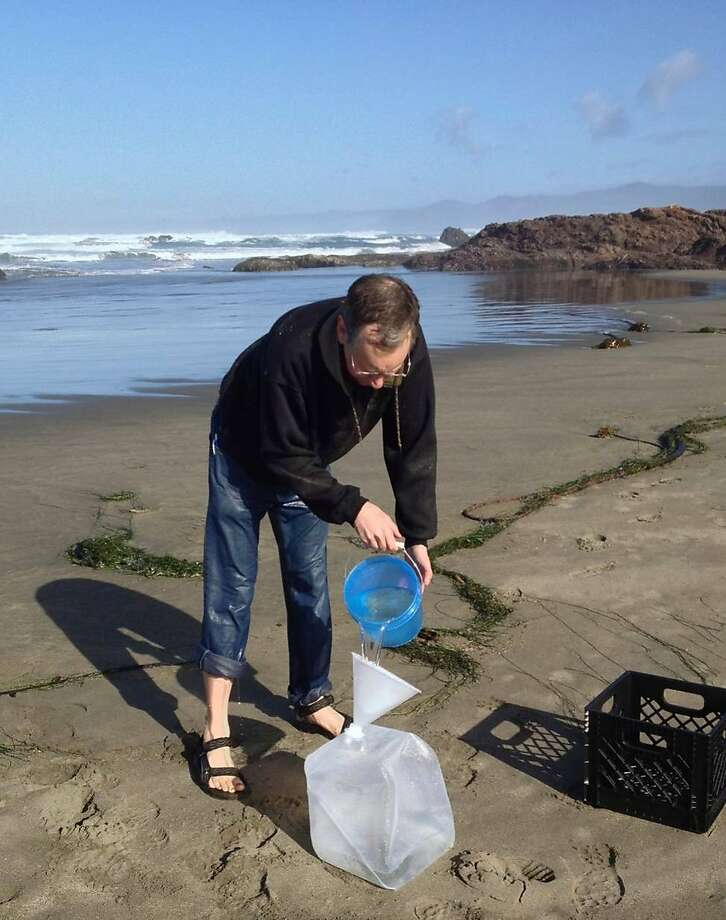 Dr. Roger Gilbert collects seawater near Fort Bragg in an effort to monitor for radiation contamination. Photo: Roger Gilbert