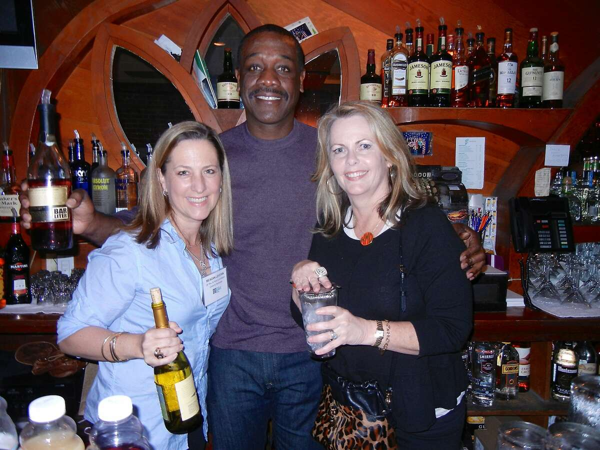 Meagan Levitan (at left) with former SF Giants player Rich Murry and Kathleen Dowling-McDonough at Harrington's Bar & Grill for the Banner of Love Gala kick-off. Feb 2014.