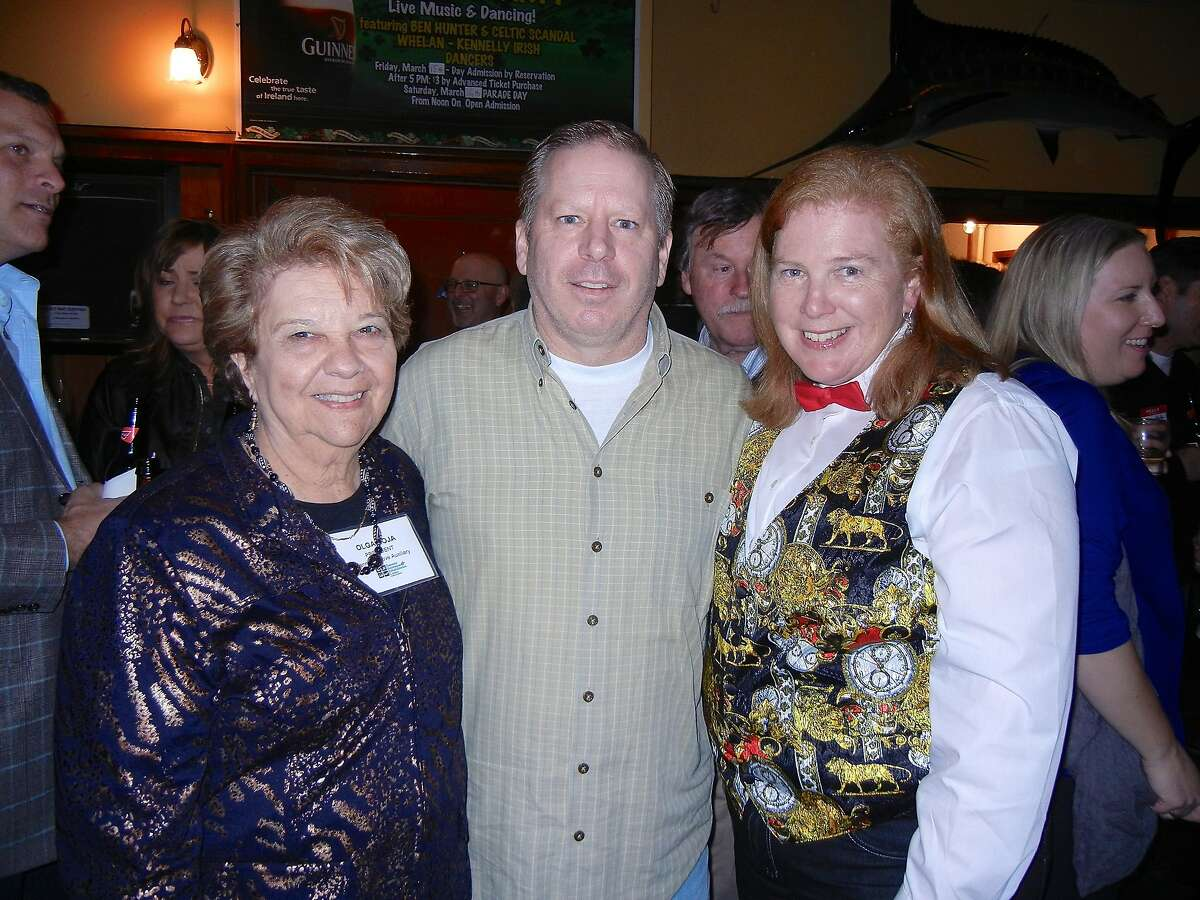 Pomeroy Women's Auxiliary President Olga Hoja (at left) with John Ring and Joanne Hayes-White at Harrington's Bar & Grill for the Banner of Love Gala kick-off. Feb 2014.
