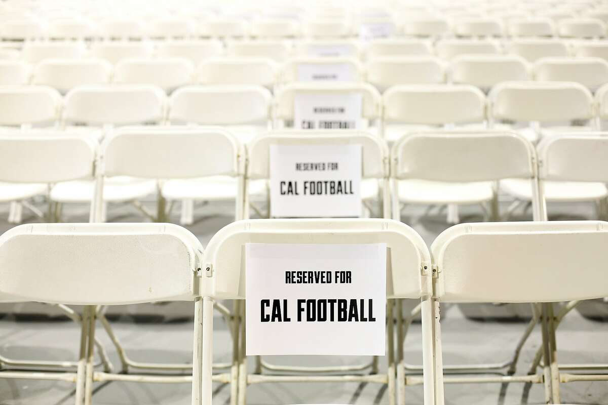 Seats are blocked off for the football team at a memorial service for Ted Agu, a student and football player at the University of California, in Berkeley, Calif., on Monday, February 24, 2014. Agu passed away unexpectedly on Friday, Feb. 7th.