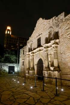 A new energy efficient LED lighting system has recently been intalled in the sidewalk in front of the Shrine at the Alamo Photo: Express-News File Photos