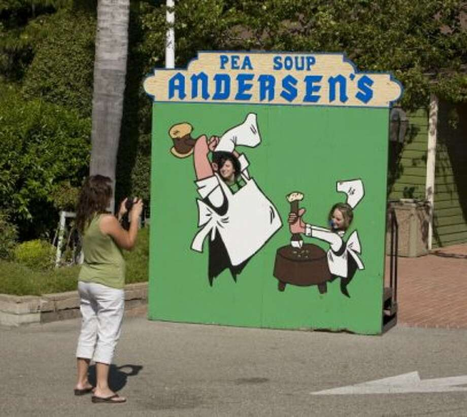 Pea Soup Andersen'sWith locations in Buellton and Gustine, and plenty of billboards to point the way, you can't avoid the split pea soup or mascots 'Happea' and 'Pea-Wee.' Photo: George Rose, Getty Images