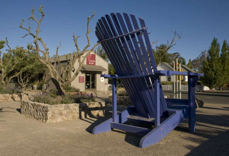 The Big Blue Chair, Cornerstone SonomaThe giant Adirondack welcomes visitors to wine country. Take a photo on it and feel like a flea. Photo: George Rose, Getty Images / 2009 George Rose