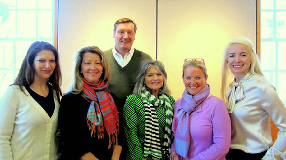 The New Canaan Chamber of Commerce has three new members of the board of directors. The new members are Steve Risbridger of Reynolds and Rowella, Boardie Kurz of the New Canaan Nature Center and Stephanie Tewell of Merle Norman. Risbridger was elected as treasurer, replacing Janice Kunst, who served the board for six years. Front row from left are, Elizabeth McCarthy of Aetheria Relaxation Spa, who serves as secretary; Kurz; Jenny Esposito of TD Bank New Canaan, who serves as president; Tucker Murphy, executive director of the New Canaan Chamber of Commerce; and Stephanie Lynn. Back row, Risbridger. Photo: Contributed Photo, Contributed / New Canaan News Contributed