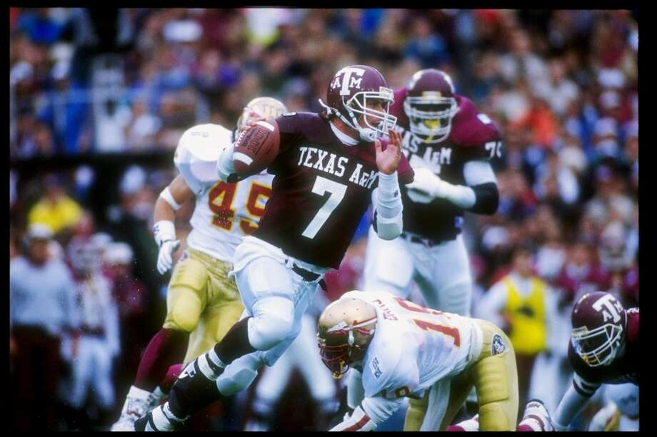 Jan. 1, 1992: Quarterback Bucky Richardson of the Texas A&M Aggies runs down the field during the Cotton Bowl against the Florida State Seminoles at the Cotton Bowl in Dallas, Texas. Florida State won the game 10-2. Mandatory Credit: Mike Powell /Allsport Photo: Mike Powell, Getty Images