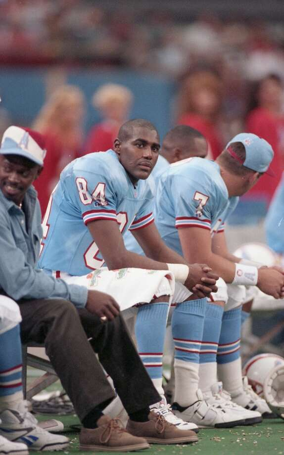 10/24/1993 - Houston Oilers v Cincinnati Bengals.  Oilers Haywood Jeffires (84) and Bucky Richardson (7) on the bench Photo: John Makely, Houston Chronicle