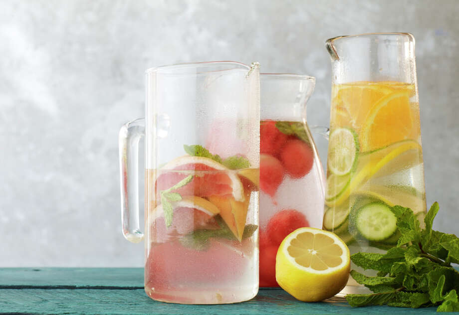 """From """"The Juice Generation"""": To make agua fresca, place sliced fruits and vegetables in a pitcher or glass mason jar and lightly mash or muddle. Cover with water and refrigerate at least two hours. Strain before serving. Combinations to try include watermelon-basil, cucumber-melon, grapefruit-mint or a citris combination of orange, lemon and lime slices. Photo: William Brinson"""