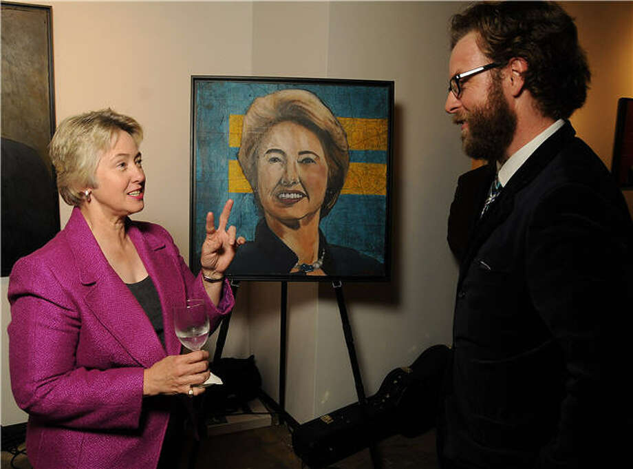 Houston Mayor Annise Parker and artist Tra Slaughter, who created her portrait for an exhibit at Esperson Gallery. Photo: Dave Rossman, For The Houston Chronicle