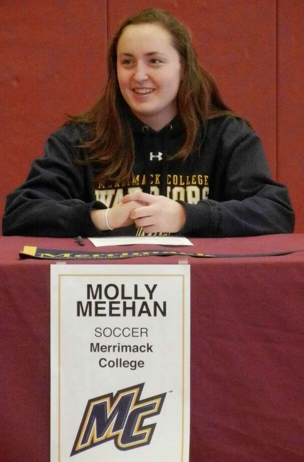 St. Joseph-Trumbull senior goalkeeper Molly Meehan, of Fairfield, will play women's soccer at Merrimack College in 2014-15. Photo: Reid L. Walmark / Fairfield Citizen